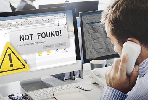 Bildschirm mit Fehlermeldung, Seite nicht gefunden