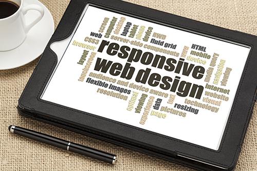 Ein iPad mit Wortspiel responsive Webdesign