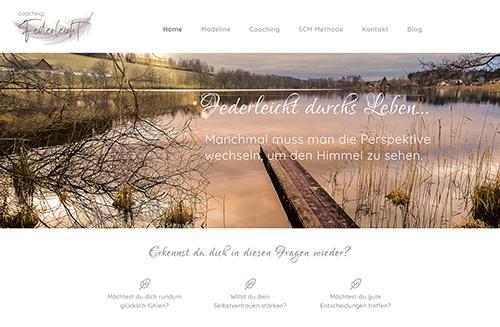 Foto der Home-Seite der Homepage Coaching Federleicht